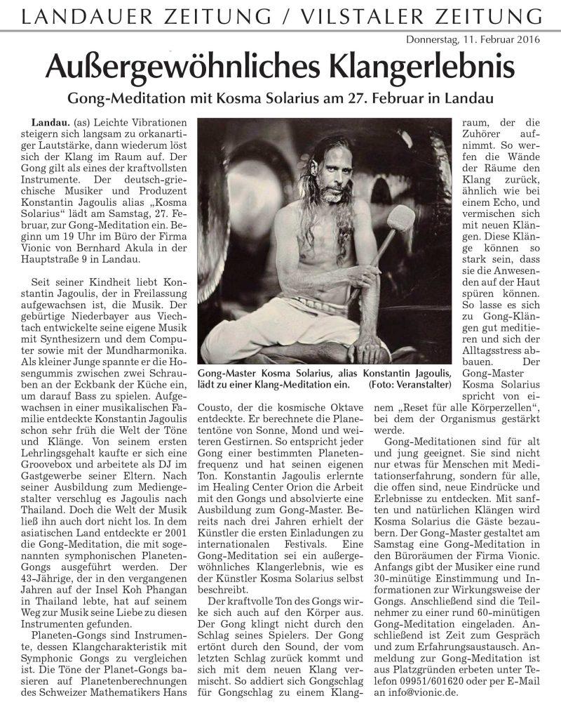 News article in Landauer Zeitung