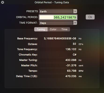Earth Year Tuning Data